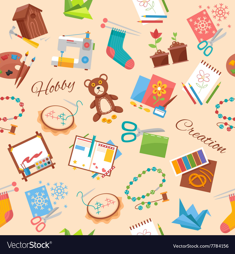 Hobby and handicraft pattern vector