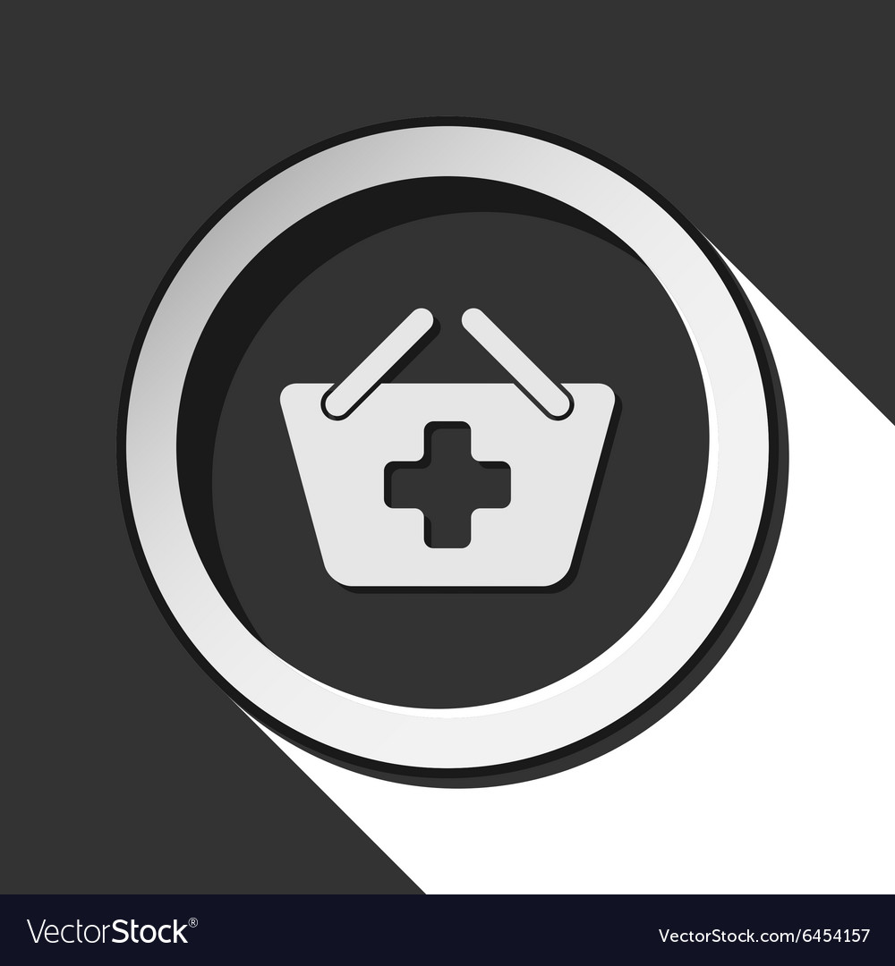 Icon  shopping basket plus with shadow vector
