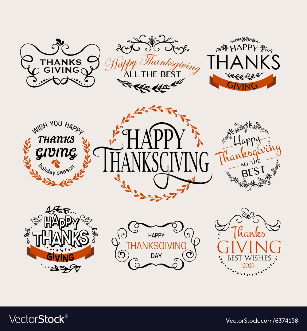 Happy thanksgiving day logotype badge and icon set vector