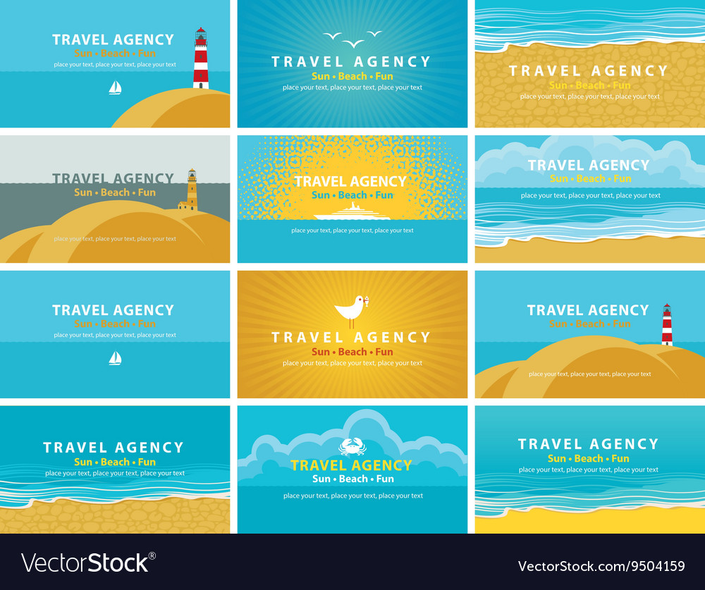Business cards for travel agency vector