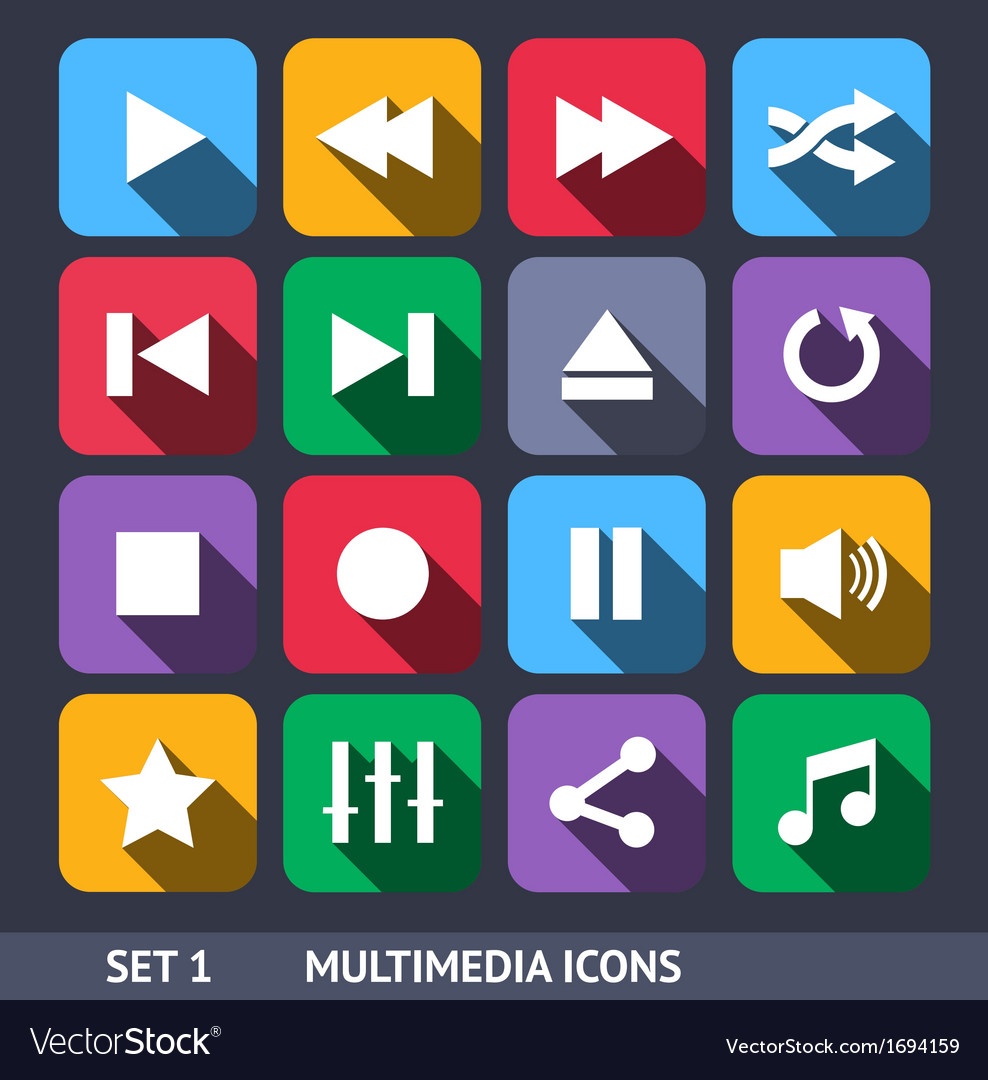 Multimedia icons with long shadow vector