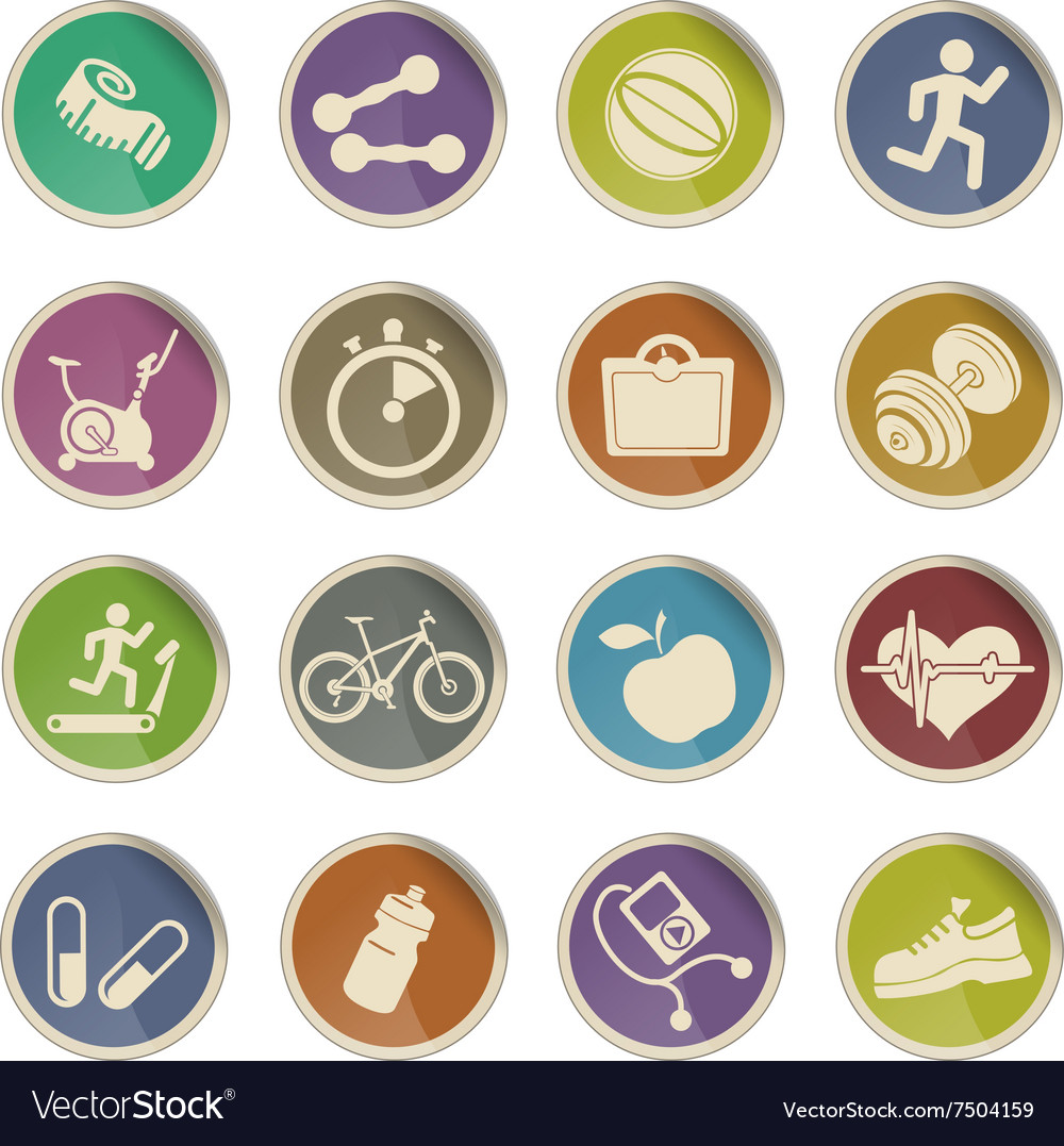 Set of icons on fitness vector