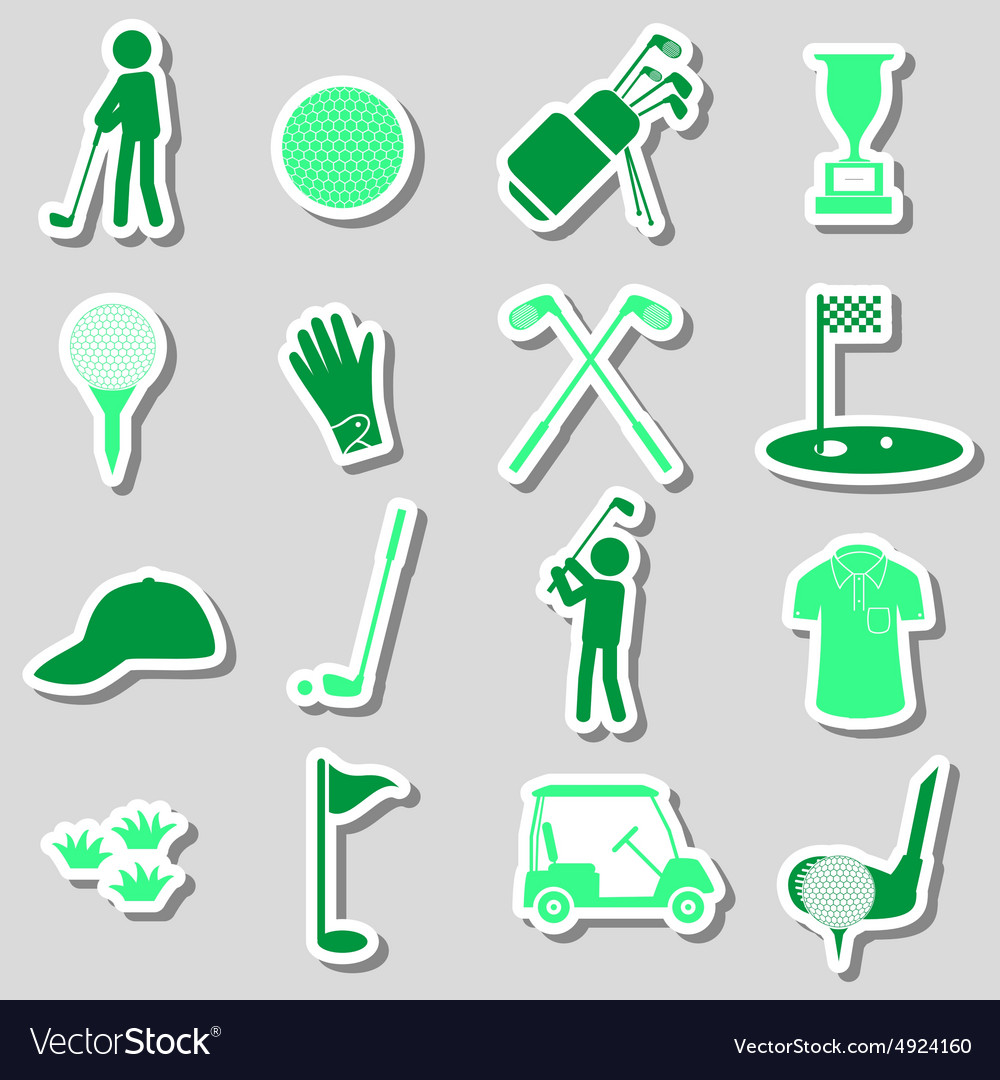Golf sport simple black stickers set eps10 vector