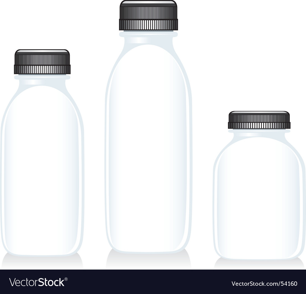 Milk glass bottles vector