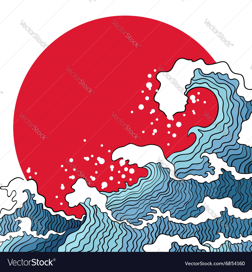 Ocean waves and sun vector