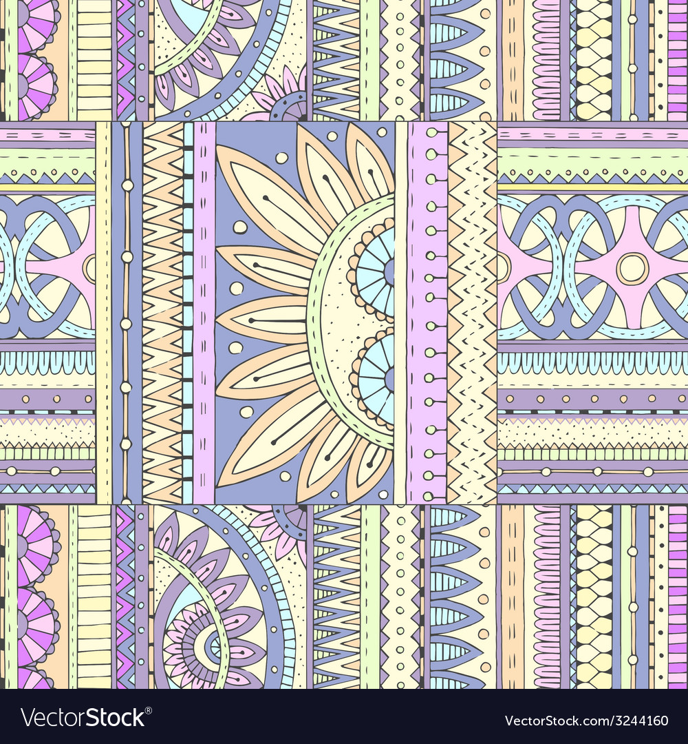 Seamless ethnic pattern with geometric elements vector