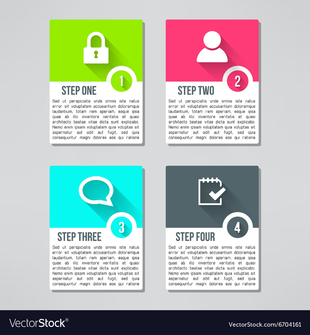 Bright infographic cards set in modern flat vector