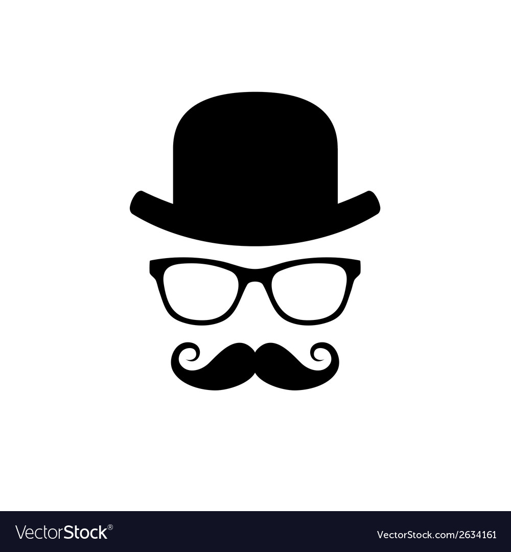 Hat glasses and mustache set vector