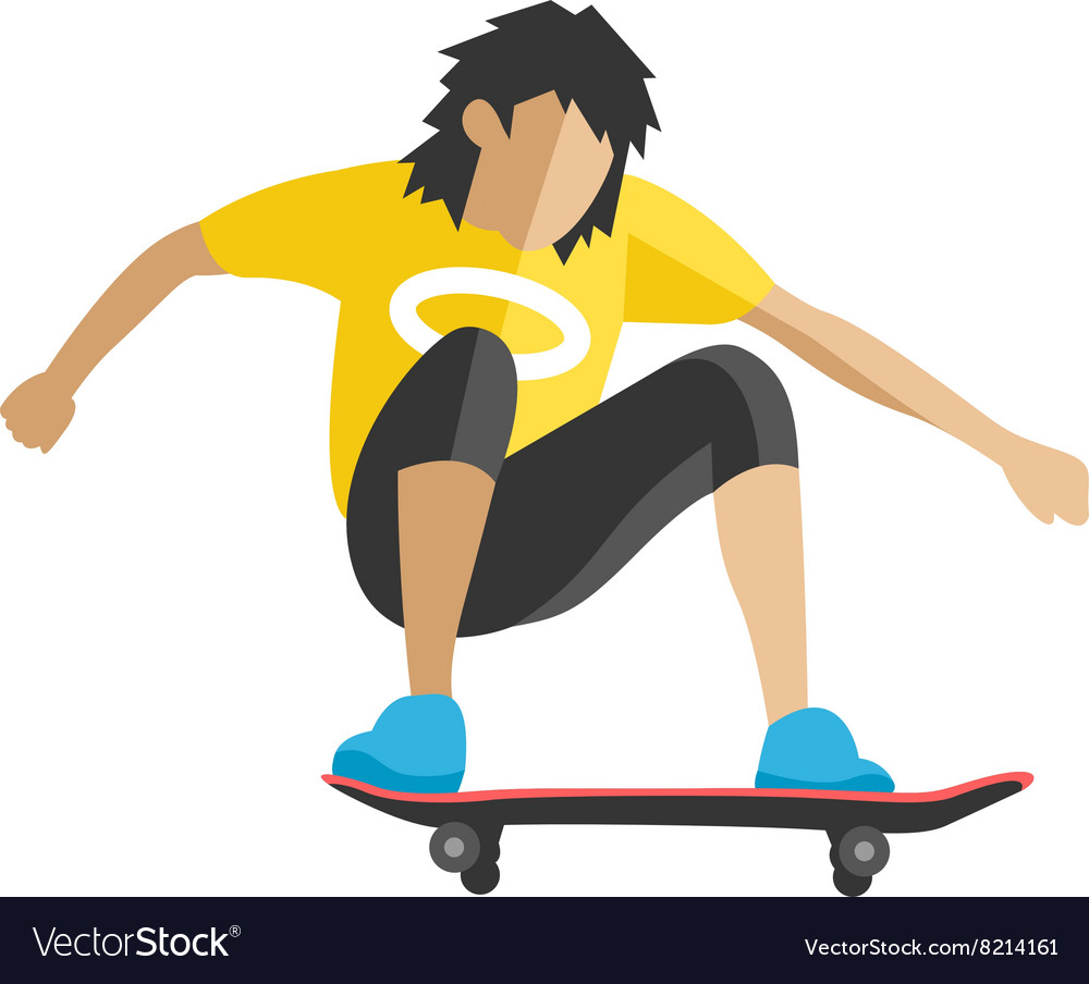 Skateboarder jump doing trick in skate park vector