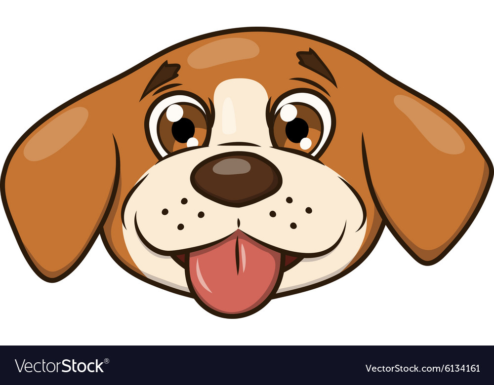 Smiling little puppy head 2 vector