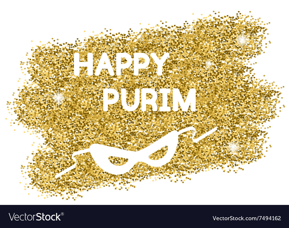 Golden purim background vector