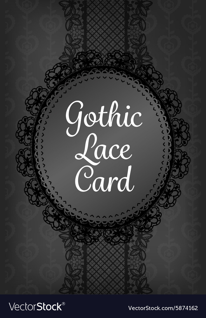 Stylish dark black gothic lace with round frame vector