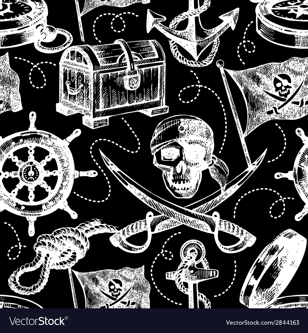 Hand drawn pirate seamless pattern vector