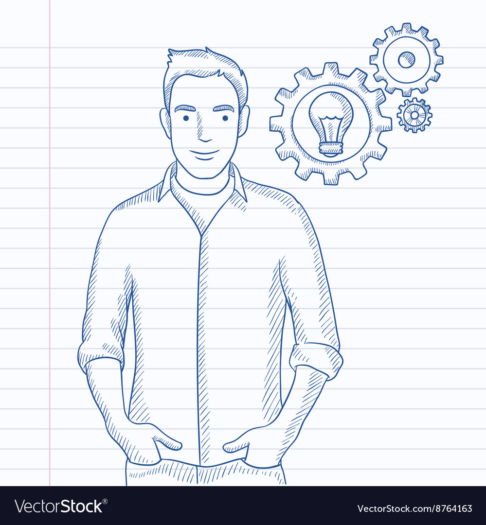 Man with bulb and gears vector