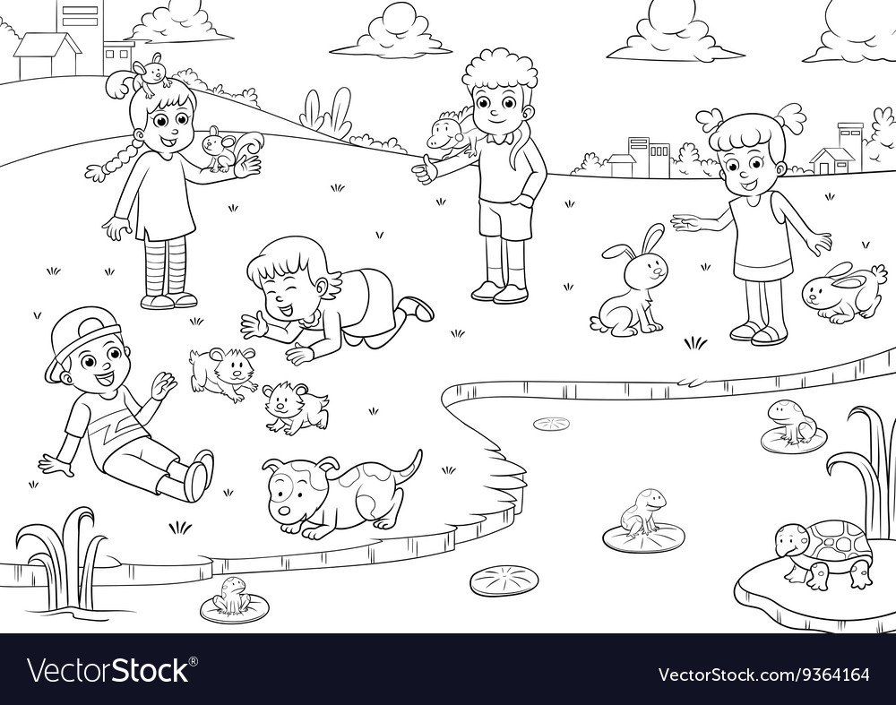 Child and animal for coloring vector