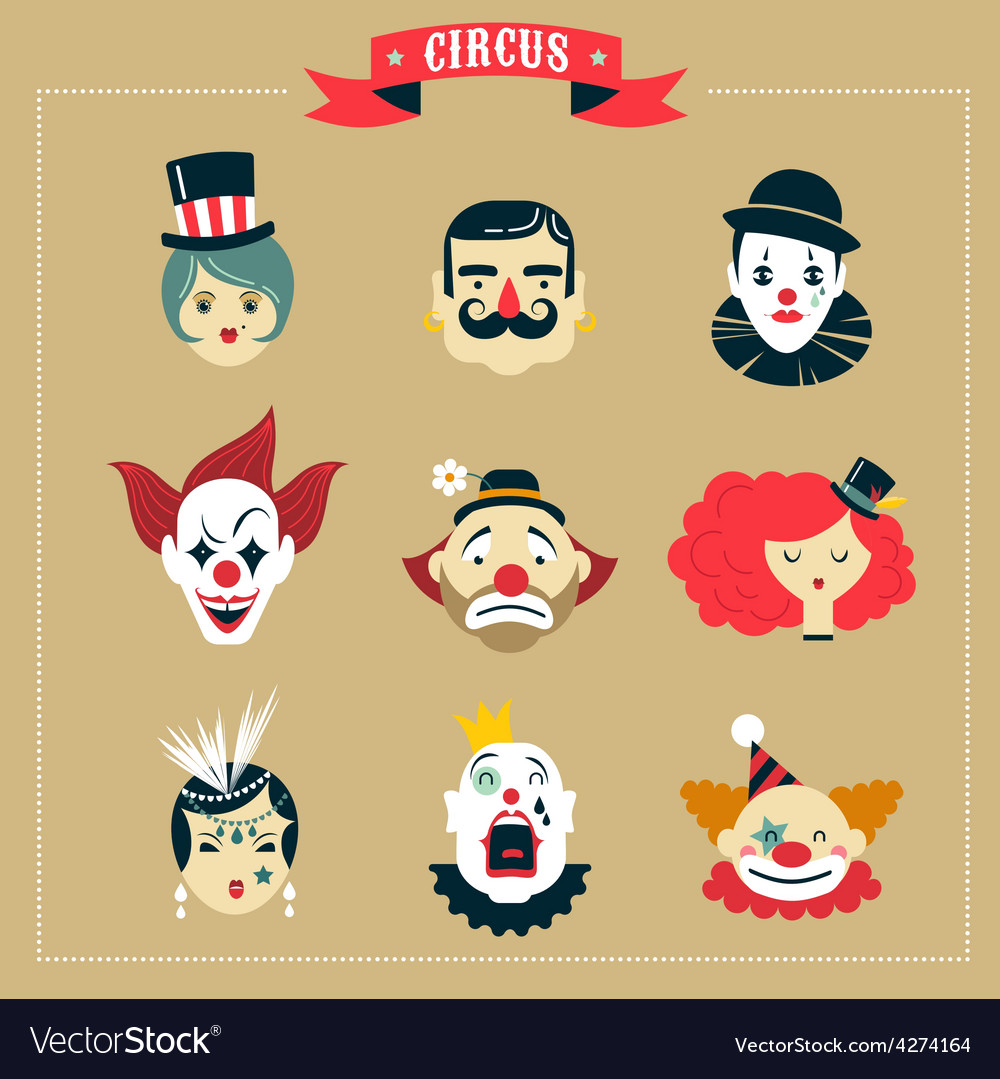 Vintage circus freak show icons and hipster vector
