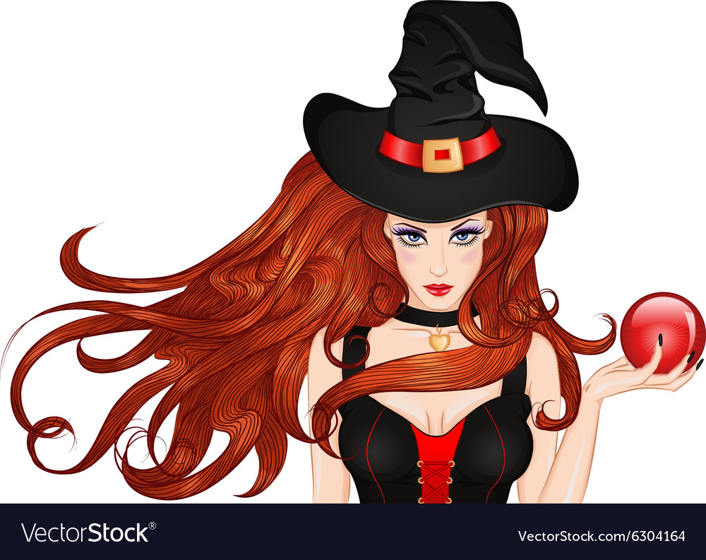 Young witch in a hat with a magic ball in hand vector