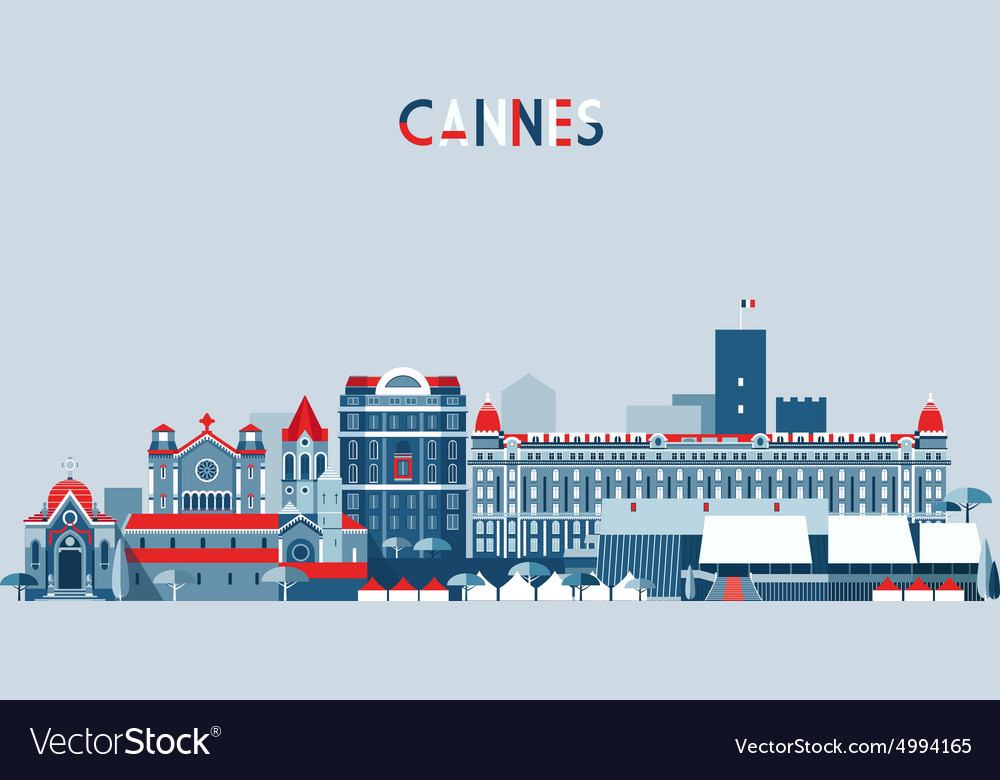 Cannes france city skyline background flat vector