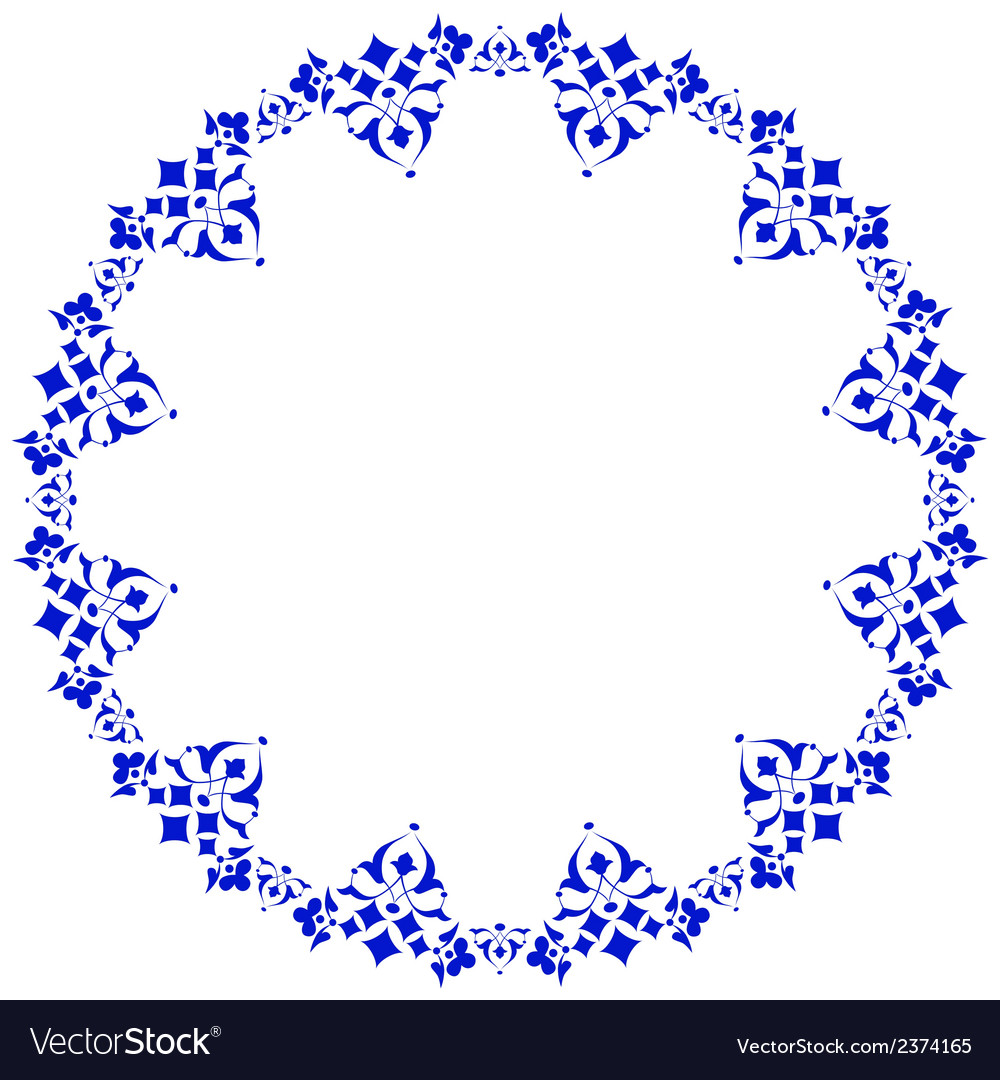 Frame with flowers of ottoman art four vector