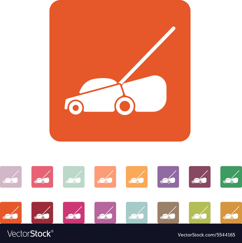 Lawn mower icon grass symbol flat vector
