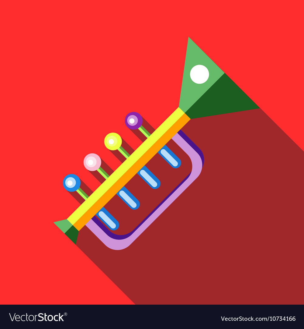 Children s toy musical trumpet on red background vector