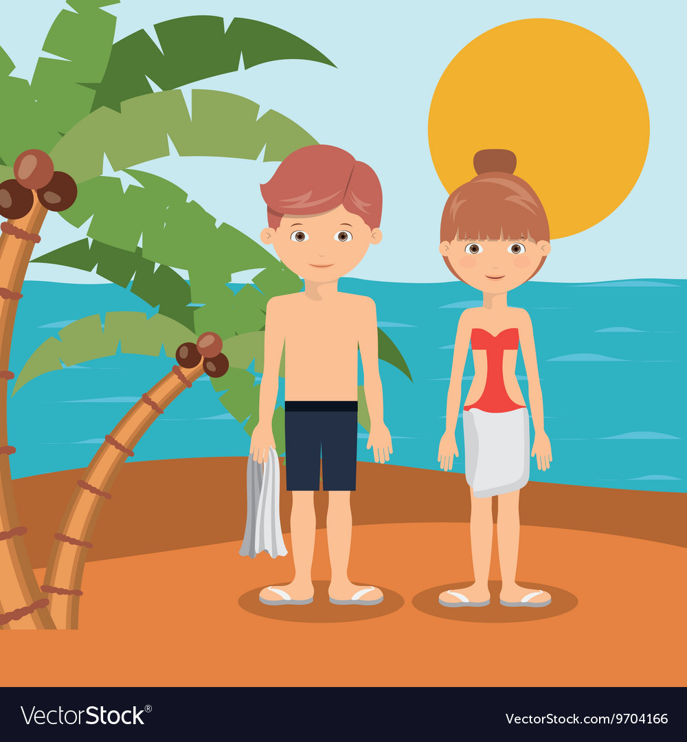 Couple on vacation in beach isolated icon design vector