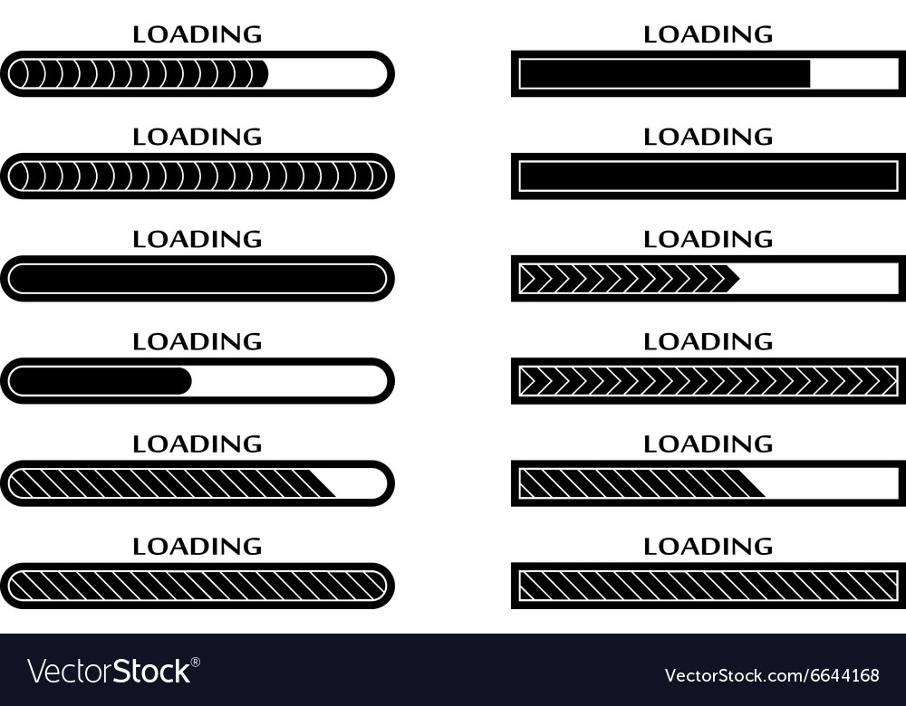 Set of loading uploading downloading status bar vector