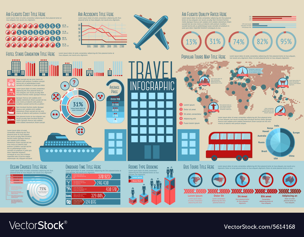 Set of travel infographic elements with icons vector