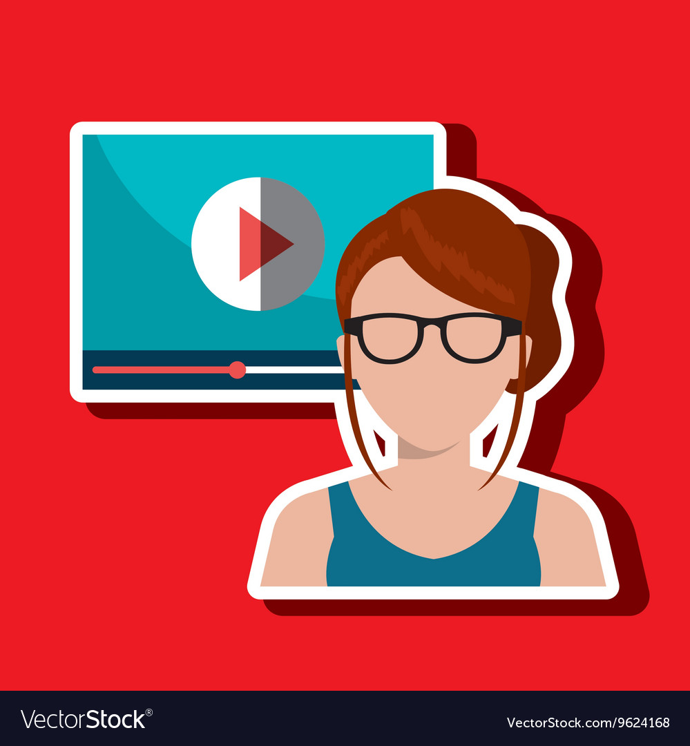 Woman with media player template isolated icon vector