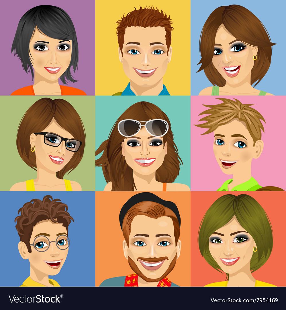 Nine diverse young people face portraits vector