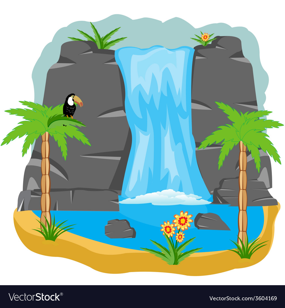 Waterfall in tropic vector