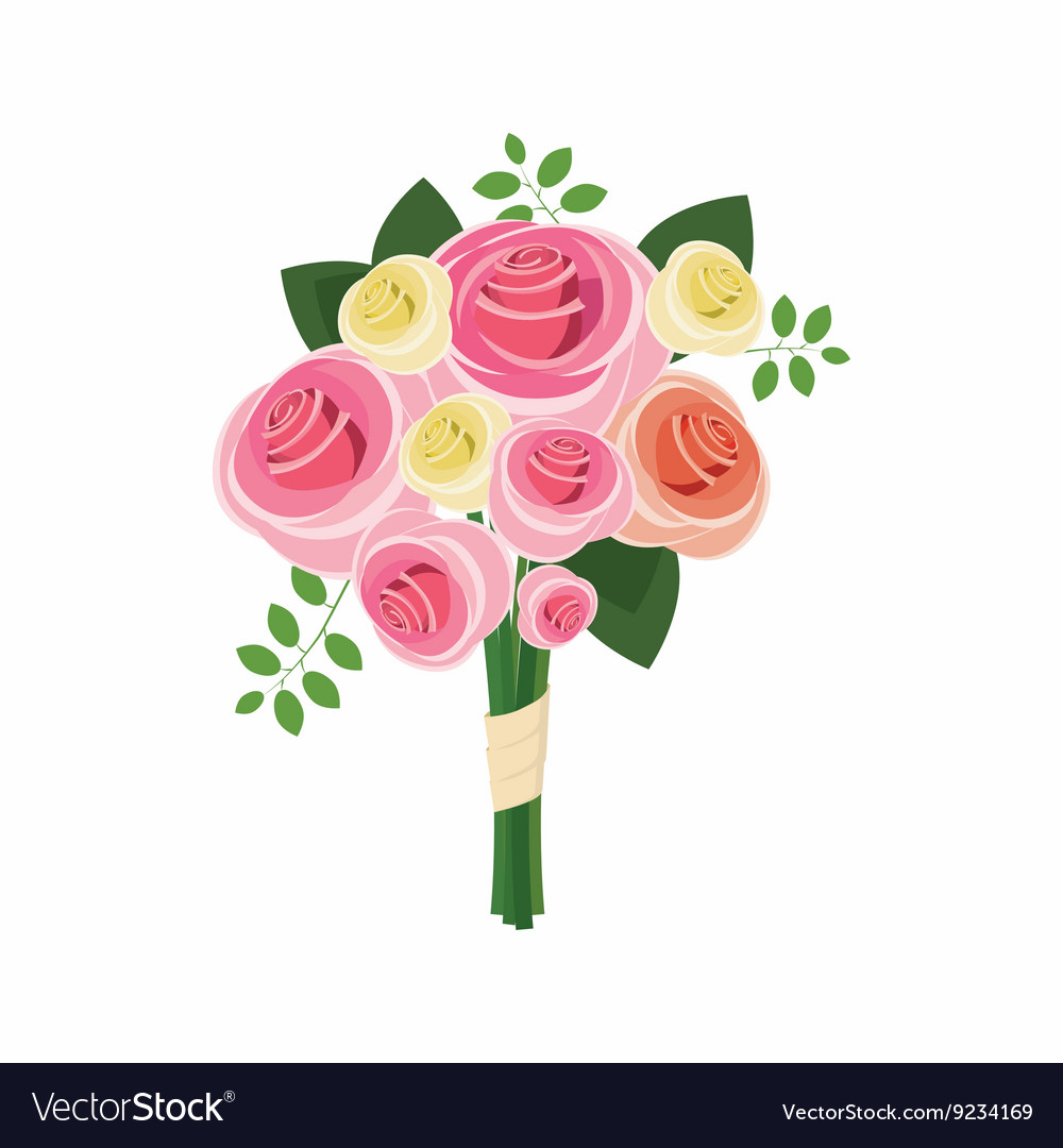 Wedding bouquet of pink roses icon cartoon style vector
