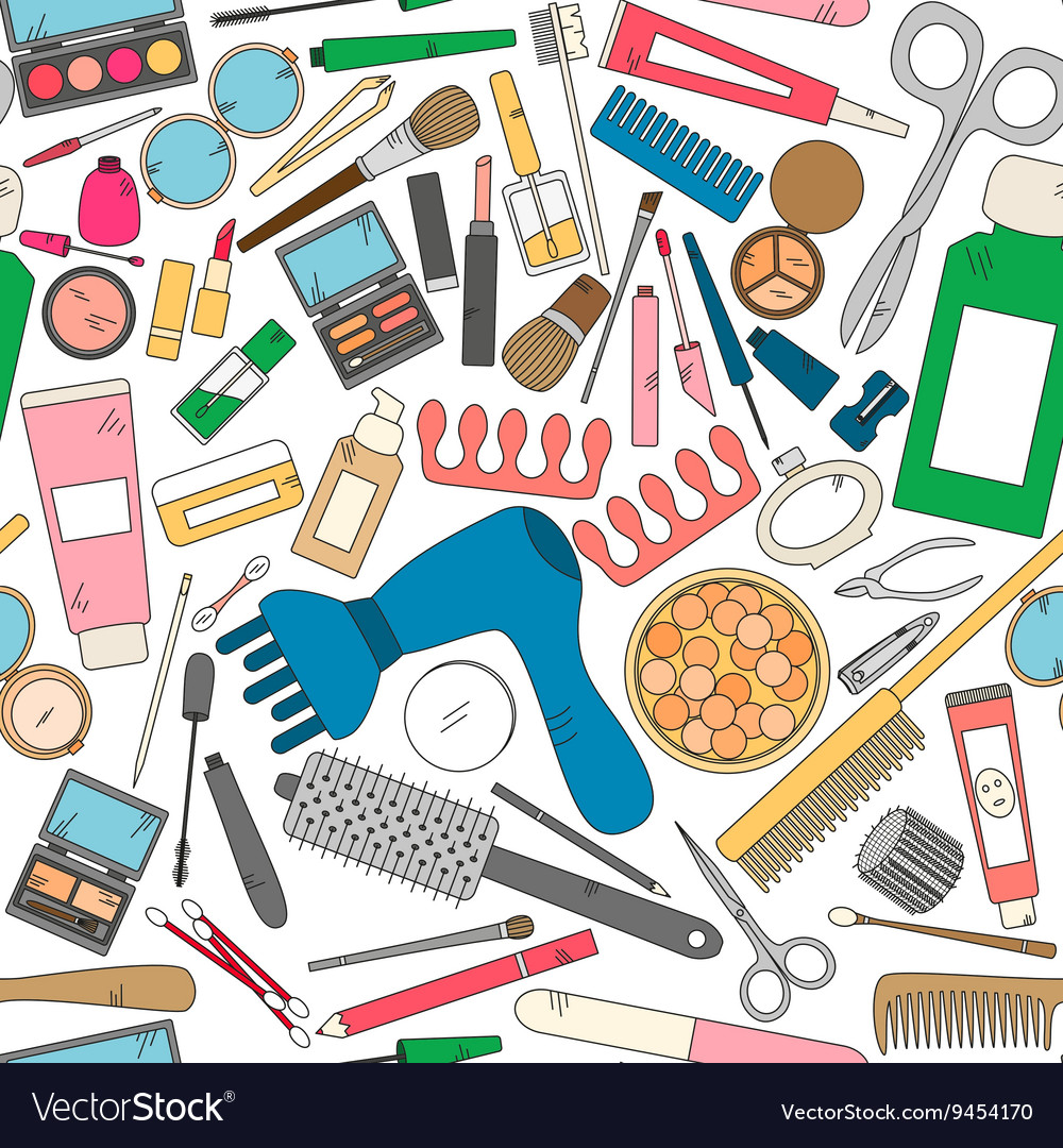 Seamless pattern with tools for makeup in bright vector