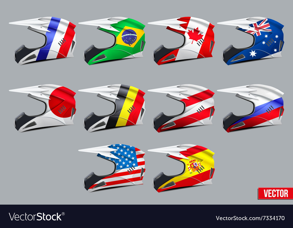 Set of motorcycle helmets vector