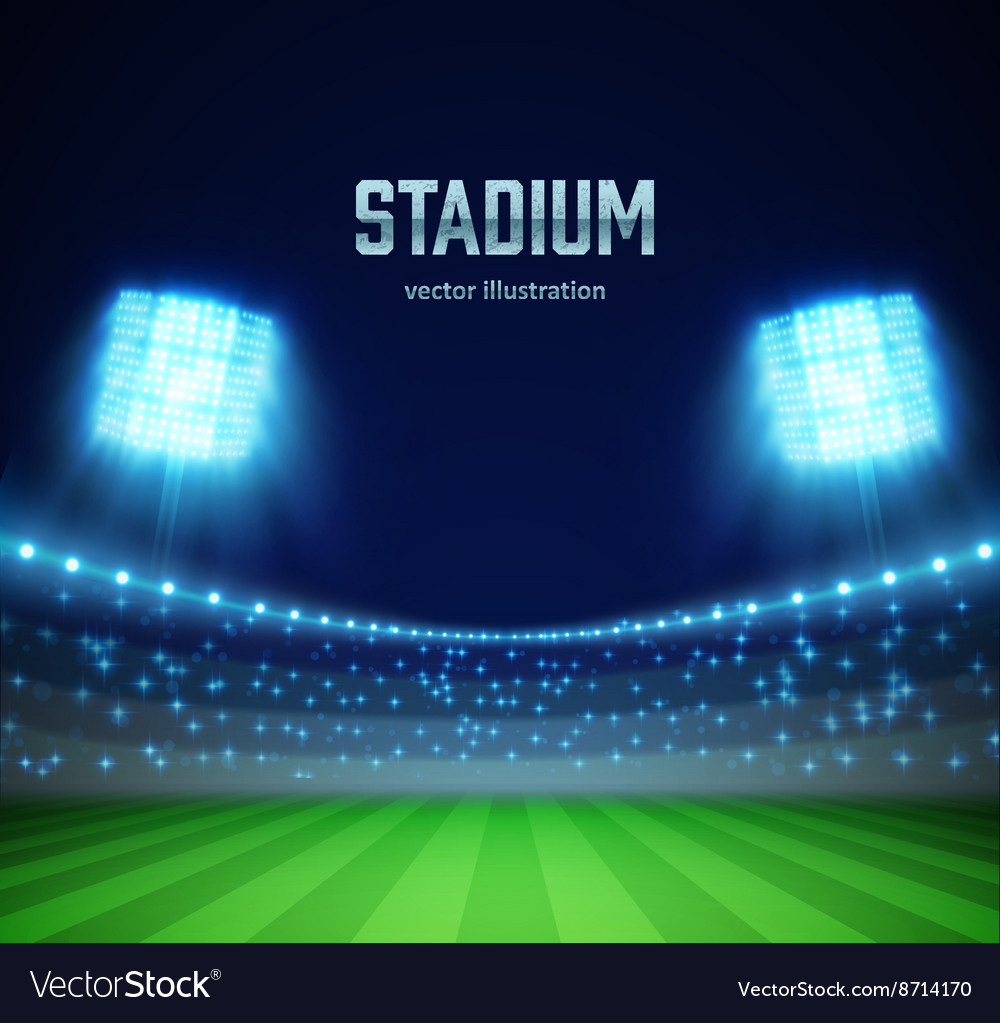 Stadium with lights and tribunes eps 10 vector