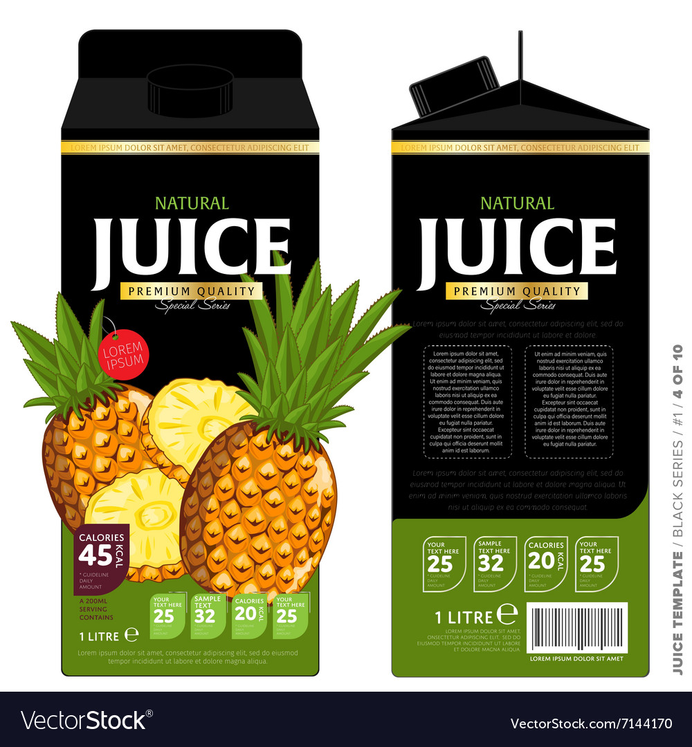 Template packaging design pineapple juice vector