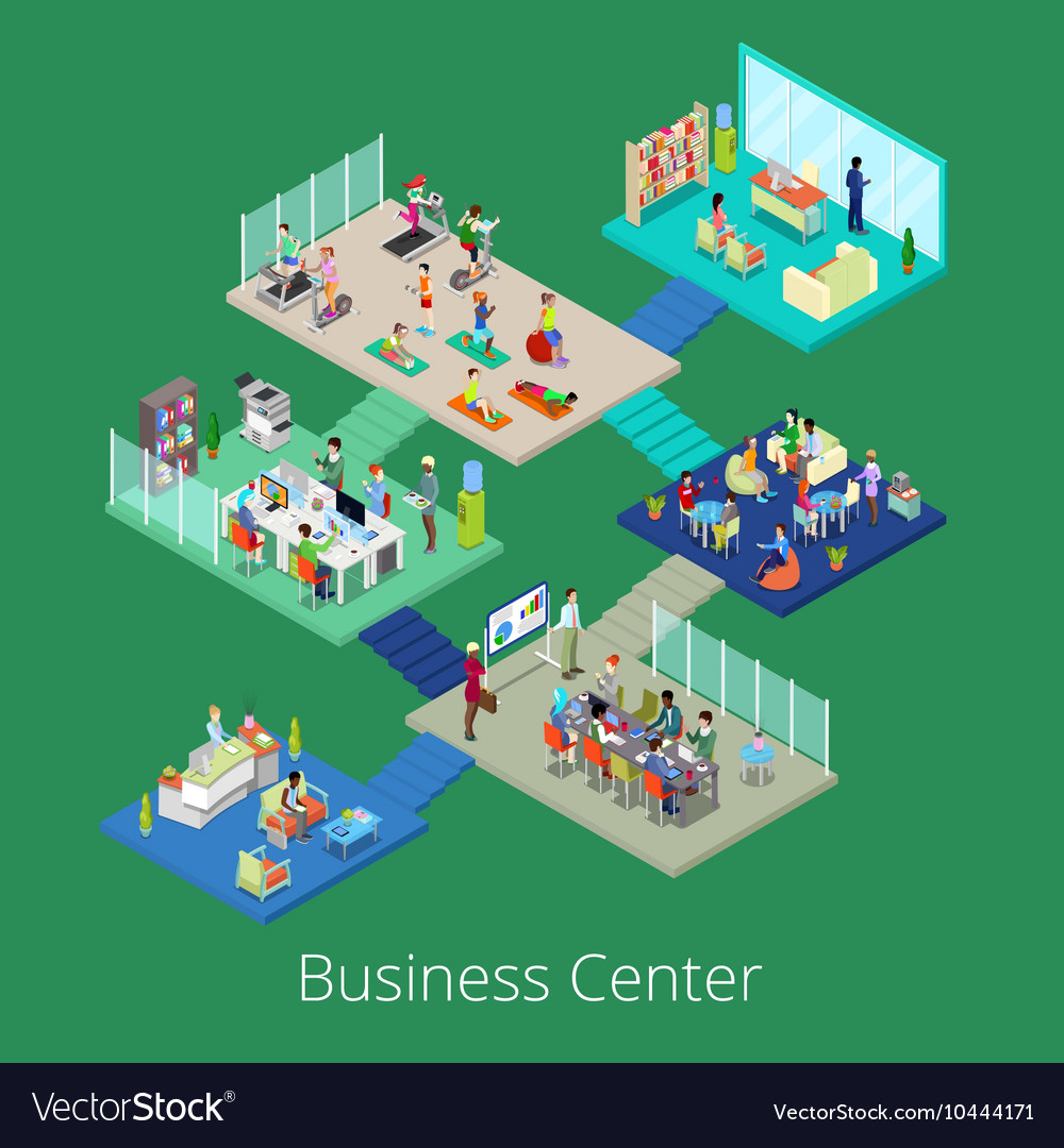 Isometric business office center building interior vector
