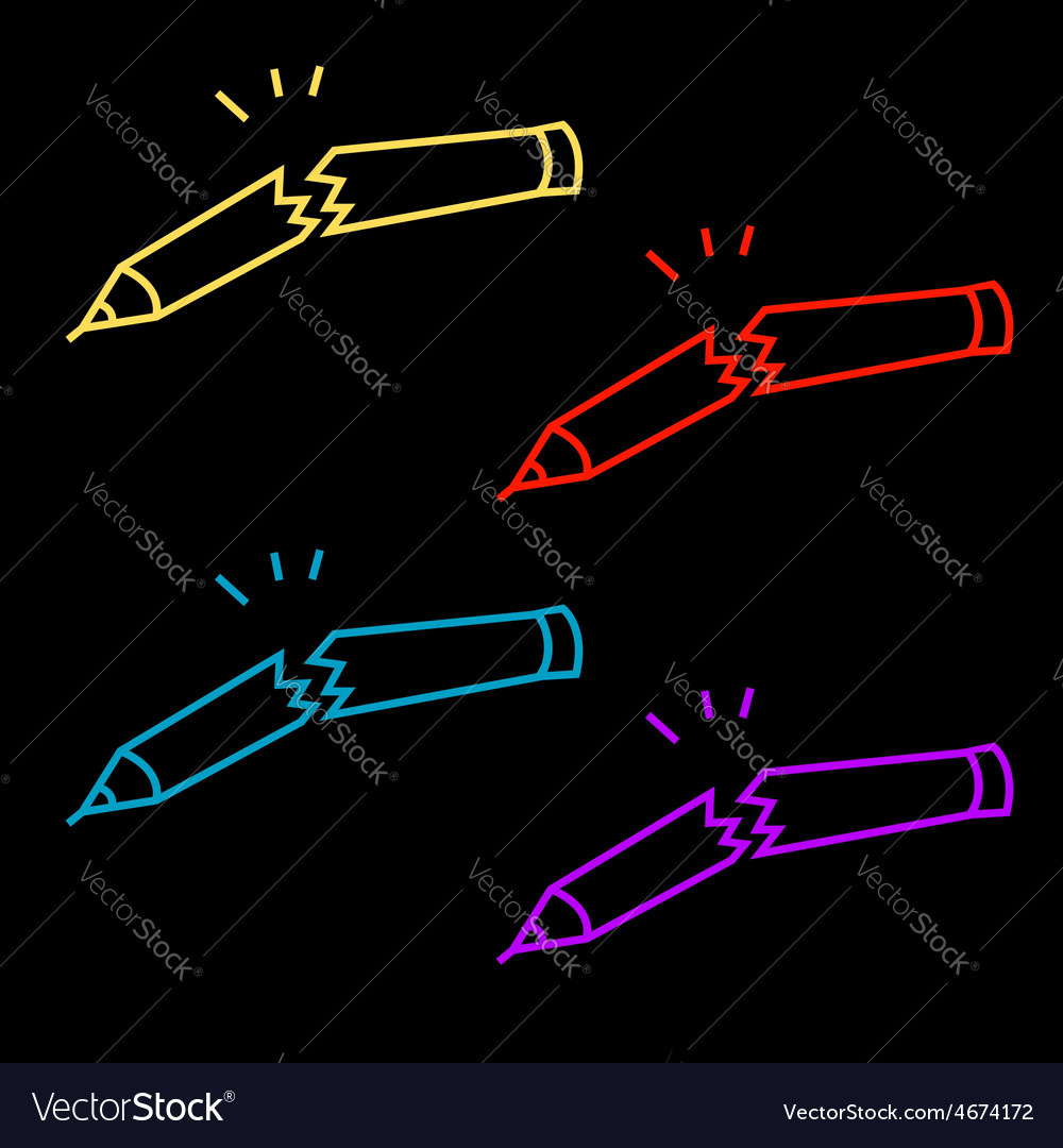 A set of broken pencils abstract logo vector