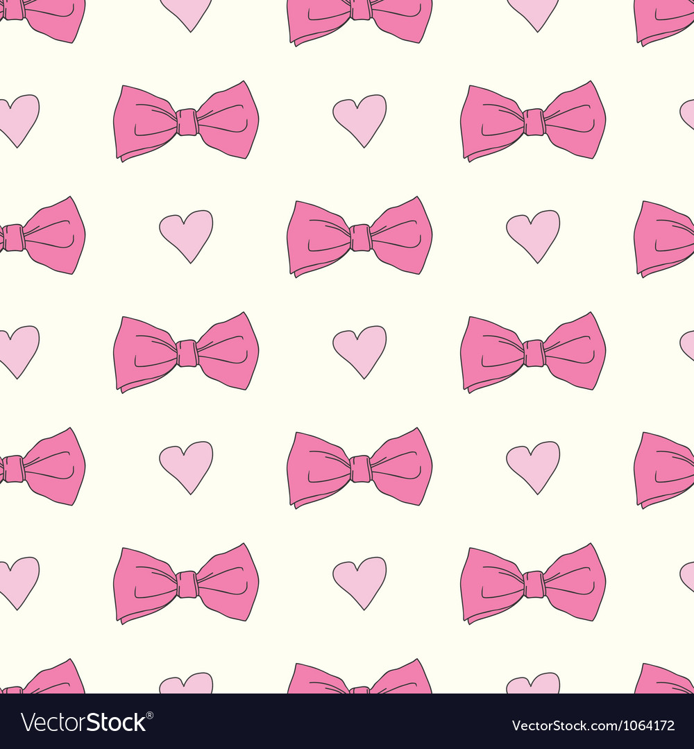 Seamless pattern with bows and hearts vector