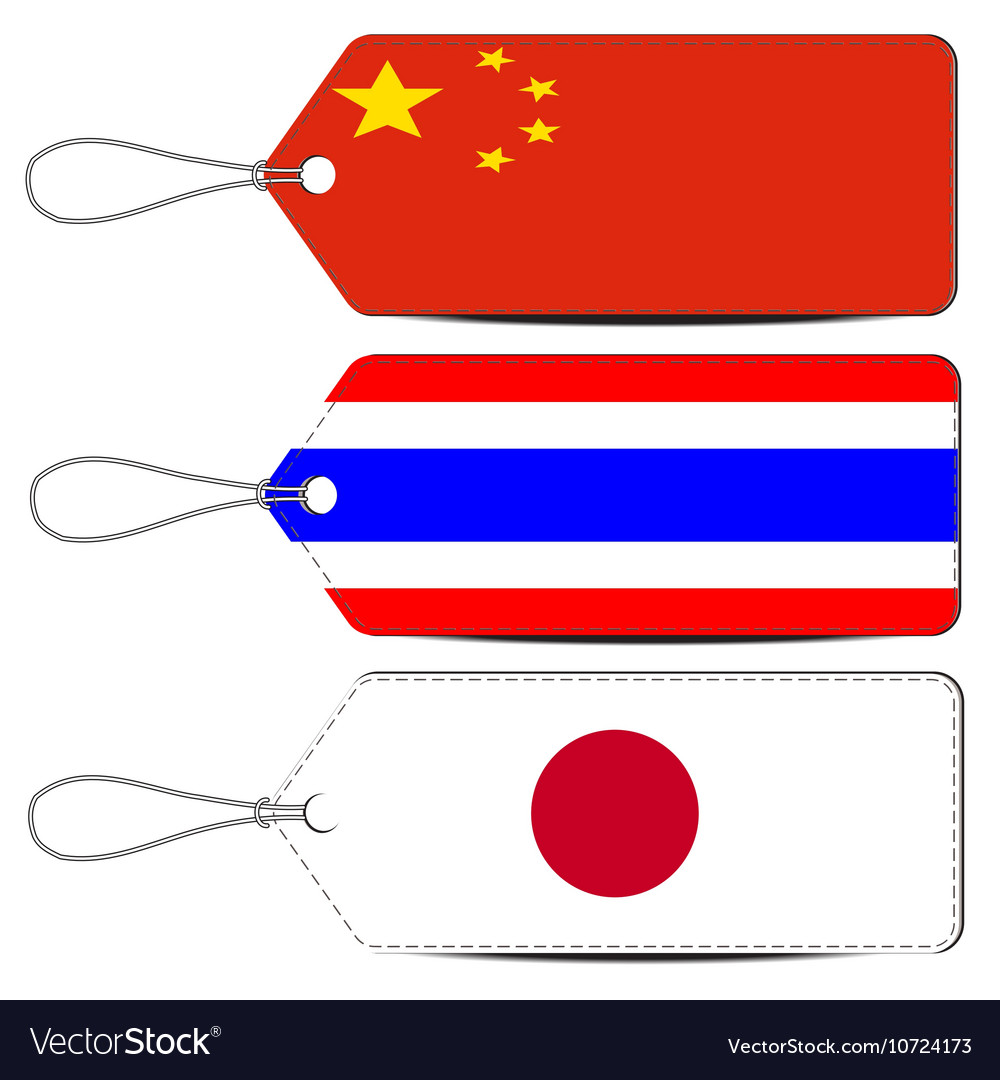 Lable made in china thailand and japan vector