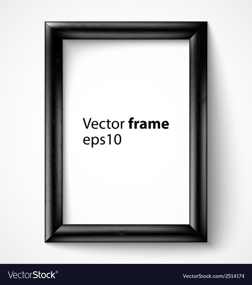 Black wooden rectangular 3d photo frame with vector