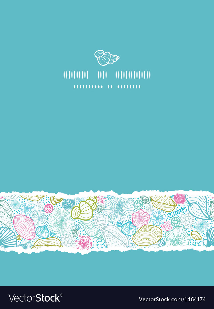 Seashells line art vertical torn seamless pattern vector