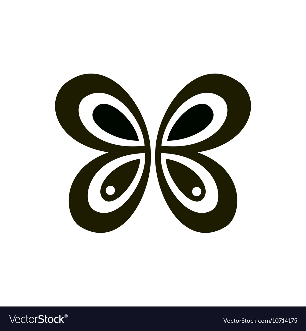 Abstract geometric black butterfly sign or logo vector