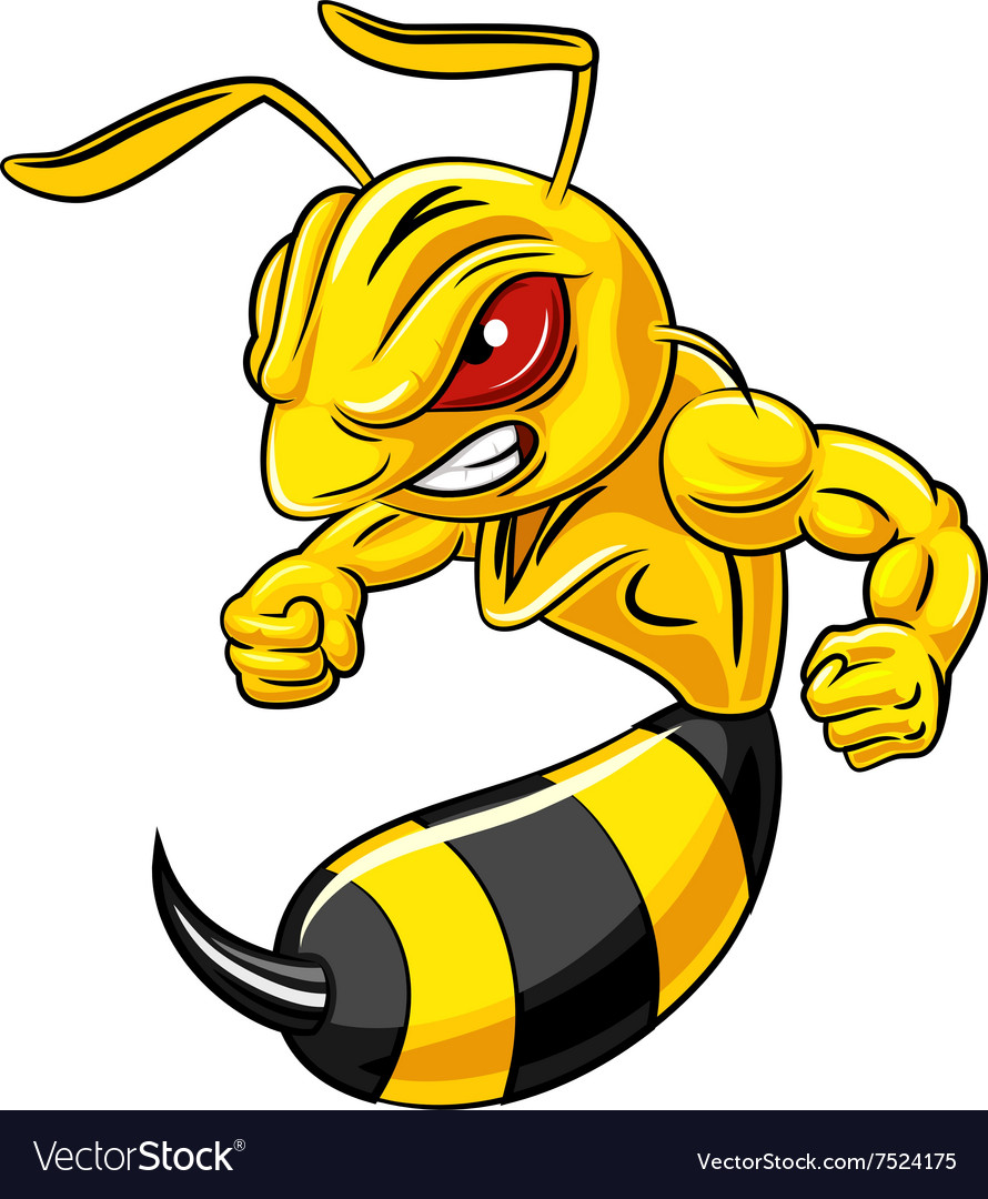 Cartoon angry bee mascot isolated vector