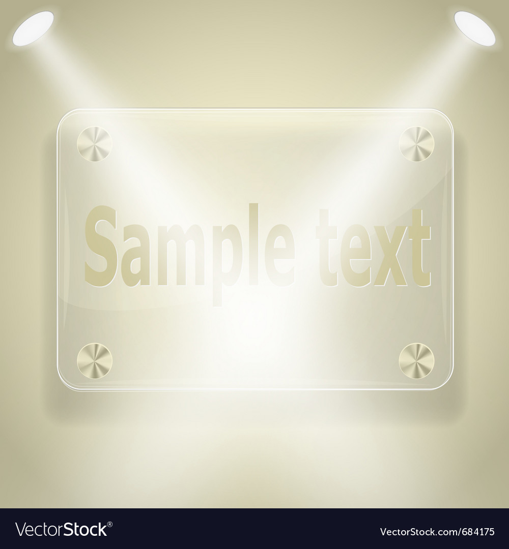 Glass frame with spotlights vector