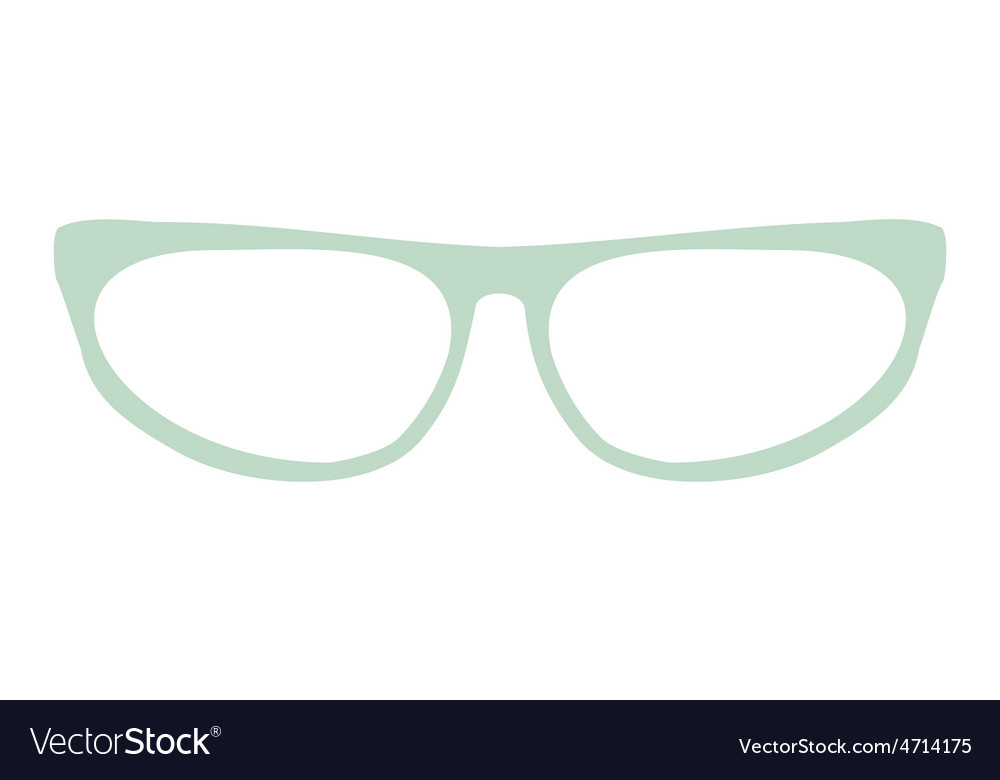 Green cat eye glasses isolated on white background vector