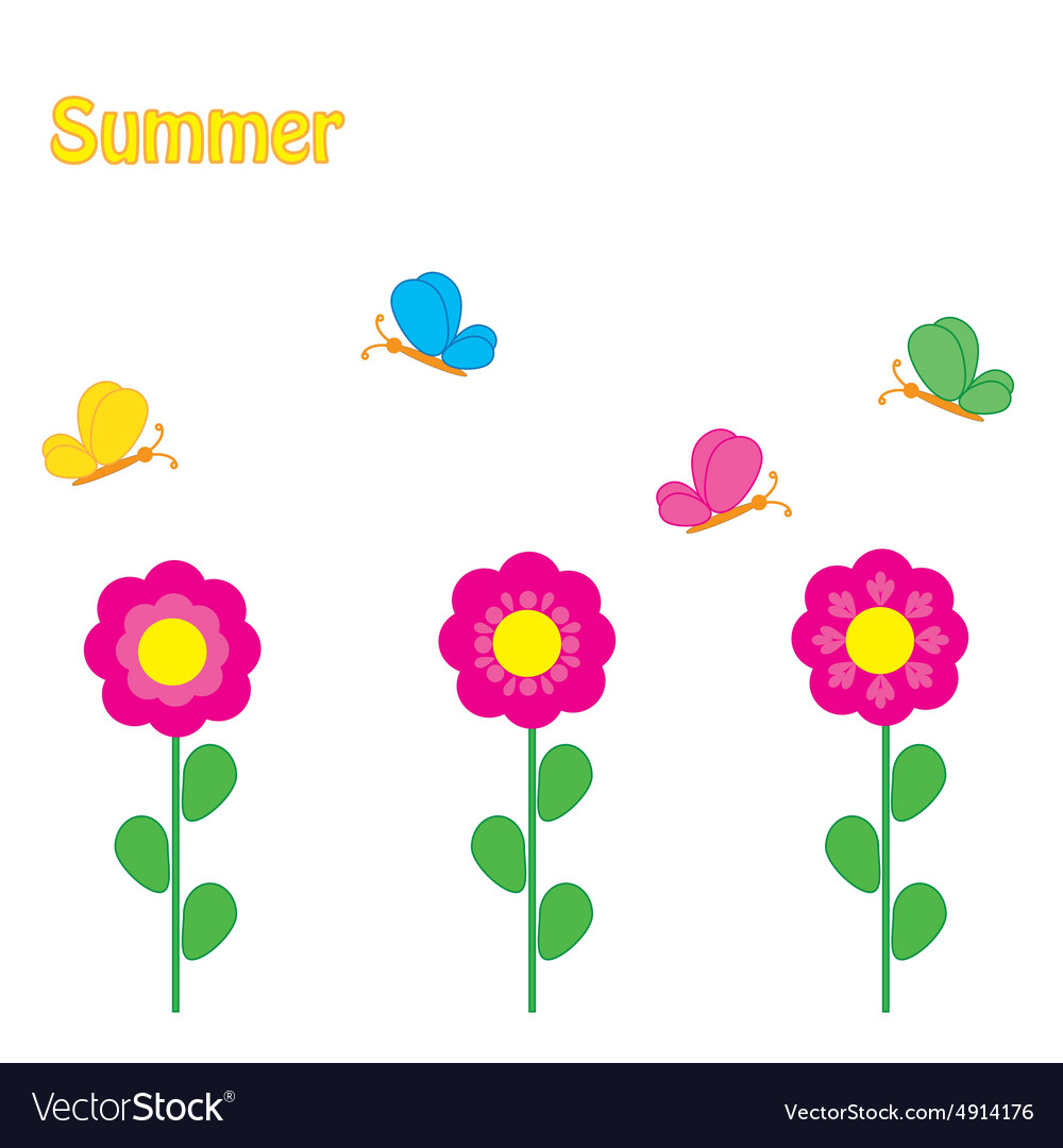 Colorful background with flowers and butterfly vector