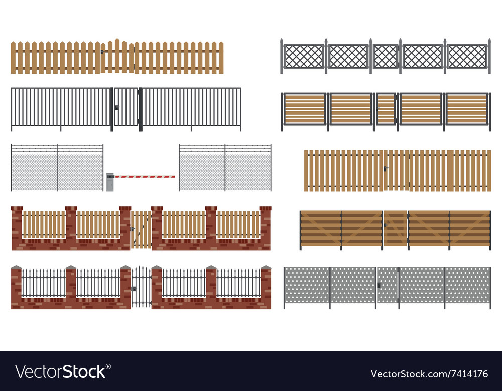 Metal and wooden fences and gates vector