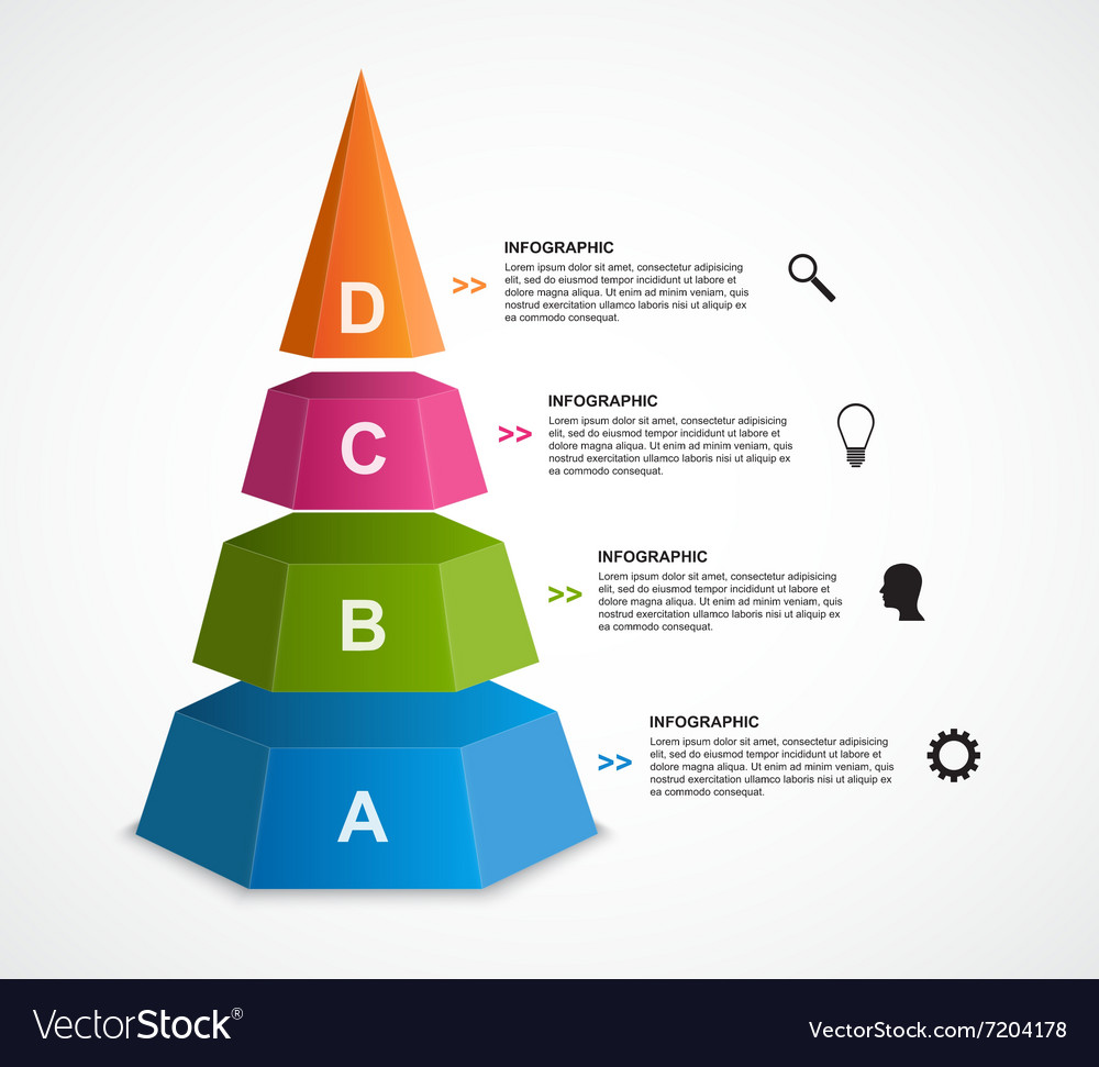 3d pyramid options infographics template vector