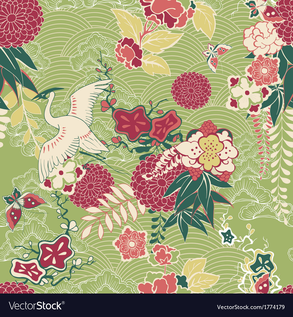 Oriental silk pattern vector